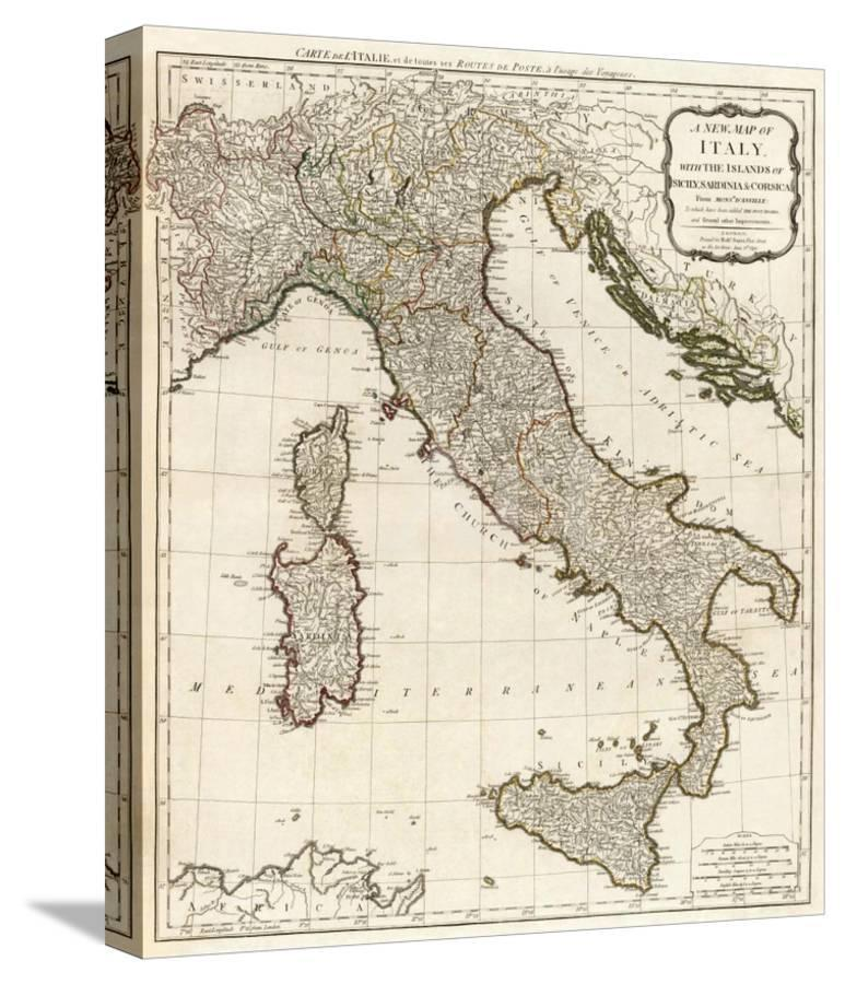 Map Of Italy And Islands.New Map Of Italy With The Islands Of Sicily Sardinia And Corsica C 1790 Stretched Canvas Print By Thomas Kitchin Art Com