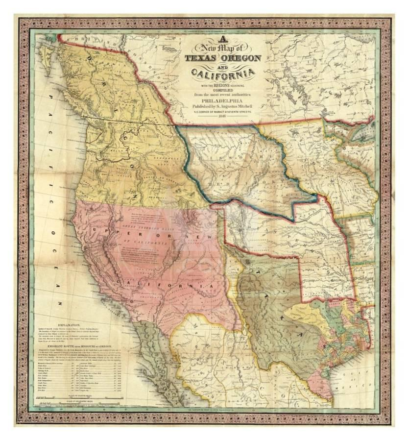New Map Of Texas Oregon And California C 1846 Art Print By Samuel