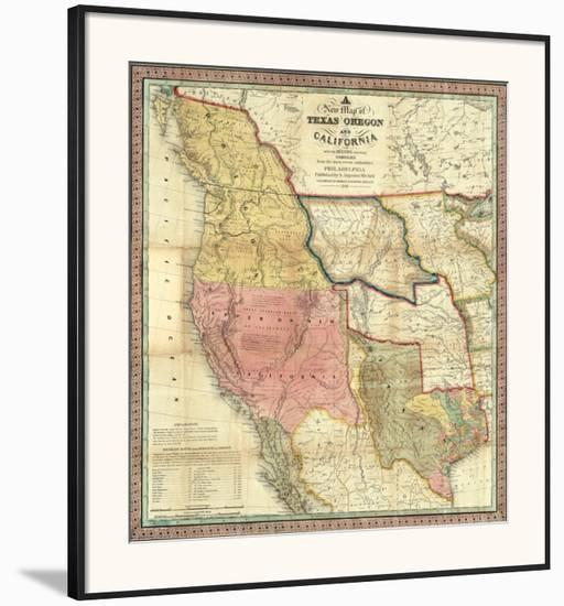 New Map Of Texas.New Map Of Texas Oregon And California C 1846 Framed Art Print By Samuel Augustus Mitchell Art Com