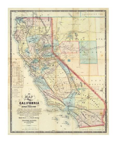 New Map of The State of California and Nevada Territory, c.1863 Art Print  by Leander Ransom | Art.com