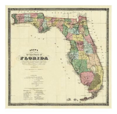 New Map of the State of Florida, c.1870-Columbus Drew-Art Print