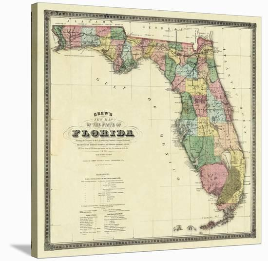 Map State Of Florida.New Map Of The State Of Florida C 1870 Stretched Canvas Print By Columbus Drew Art Com