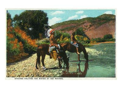 New Mexico - Apache Natives on Horseback Stop for Water at Rio Navajo-Lantern Press-Art Print