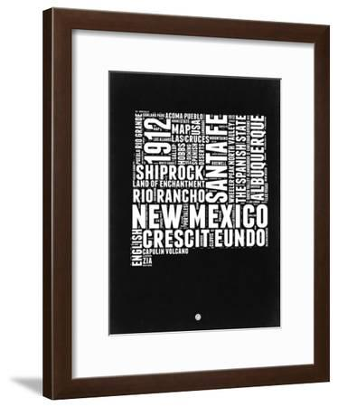 New Mexico Black and White Map-NaxArt-Framed Art Print