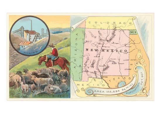 New Mexico Map, Sheep, Mining--Art Print