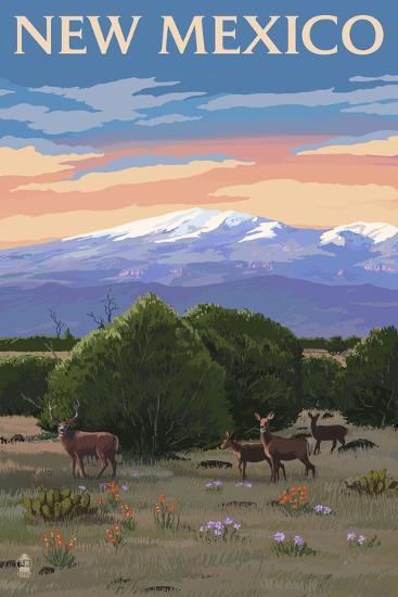 New Mexico - Mt.Taylor and Deer-Lantern Press-Art Print