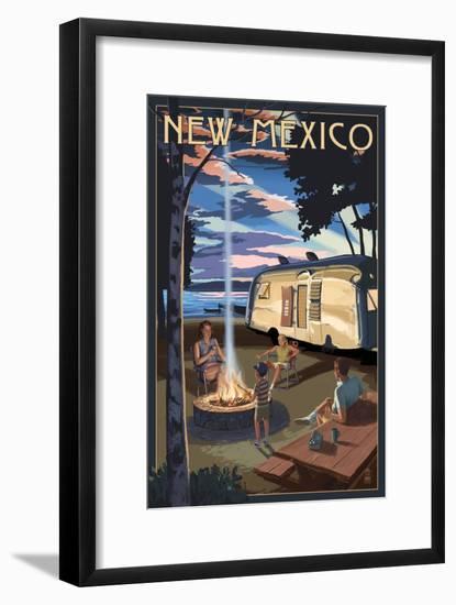 New Mexico - Retro Camper and Lake-Lantern Press-Framed Art Print