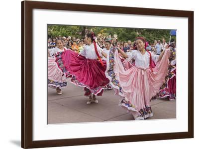 New Mexico, Santa Fe. Hispanic Folkloric Dance Group, Bandstand 2014-Luc Novovitch-Framed Photographic Print