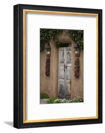 New Mexico, Santa Fe. Weathered Door to Home-Jaynes Gallery-Framed Photographic Print