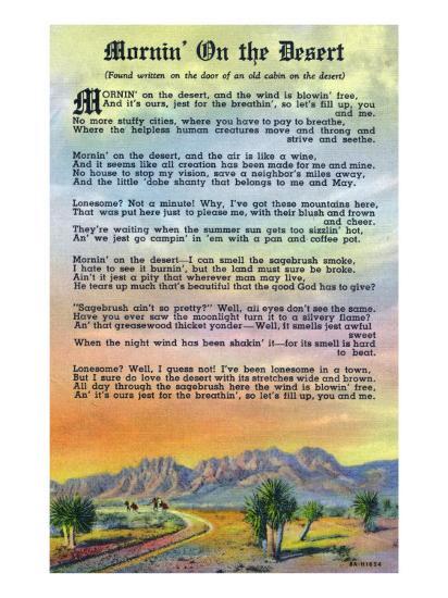 New Mexico, Scenic Desert View with Mornin' on the Desert Poem-Lantern Press-Art Print