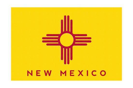 New Mexico State Flag - Letterpress-Lantern Press-Art Print