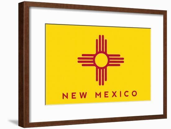 New Mexico State Flag - Letterpress-Lantern Press-Framed Art Print
