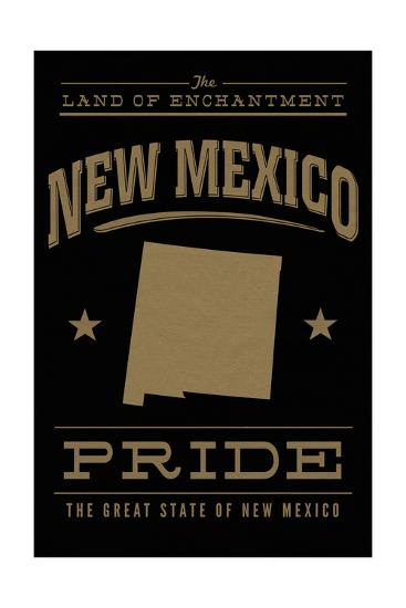 New Mexico State Pride - Gold on Black-Lantern Press-Art Print