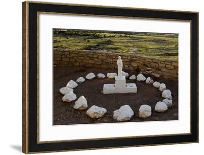 New Mexico. Statue of St Francis Outside Mission San Jose De La Laguna-Luc Novovitch-Framed Photographic Print