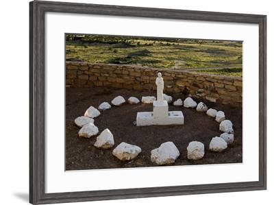 New Mexico. Statue of St Francis Outside Mission San Jose De La Laguna-Luc Novovitch-Framed Photographic Print