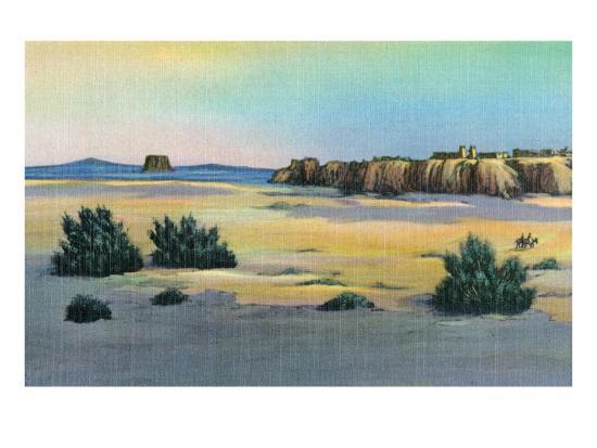 New Mexico, View of Acoma and the Enchanted Mesa near Laguna-Lantern Press-Art Print