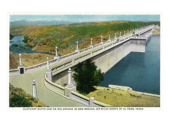 New Mexico - View of Elephant Butte Dam on the Rio Grande, 125 Miles North of El Paso, c.1936-Lantern Press-Art Print