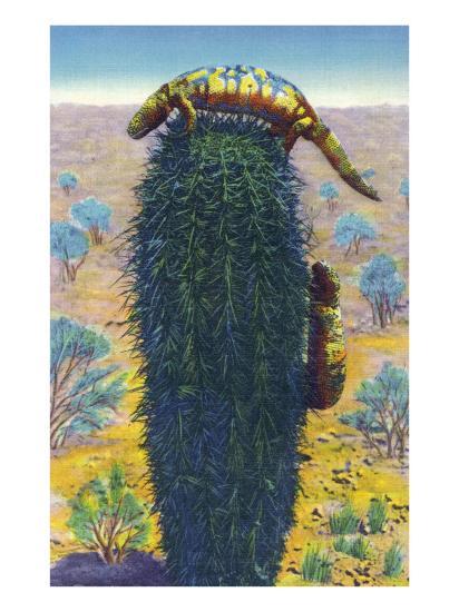 New Mexico - View of Gila Monsters on Cactus-Lantern Press-Art Print