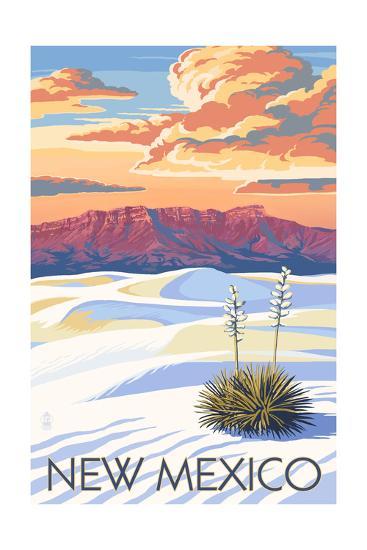 New Mexico - White Sands Sunset-Lantern Press-Art Print