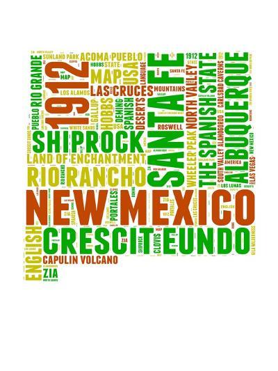 New Mexico Word Cloud Map-NaxArt-Art Print