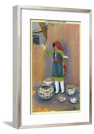 New Mexico - Young Pottery Native Vender-Lantern Press-Framed Art Print