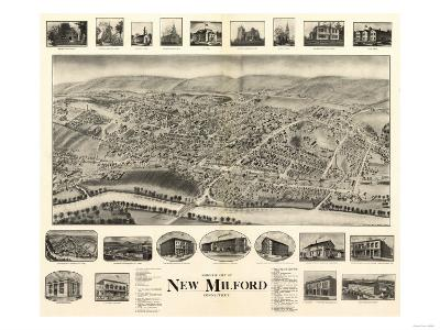 New Milford, Connecticut - Panoramic Map-Lantern Press-Art Print