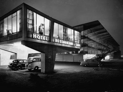 New Motel, Restaurant and Glass and Steel Garage-Ralph Crane-Photographic Print