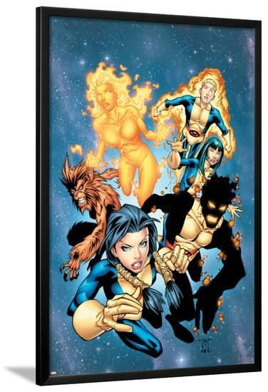 New Mutants No.13 Cover: Sunspot, Wolfsbane, Cannonball, Karma, Wind Dancer and New Mutants-Randy Green-Lamina Framed Poster