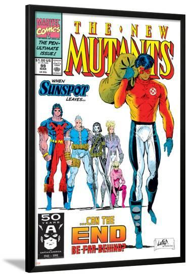 New Mutants No.99 Cover: Cable, Sunspot, Warpath, Cannonball, Domino, Boom Boom and New Mutants-Rob Liefeld-Lamina Framed Poster