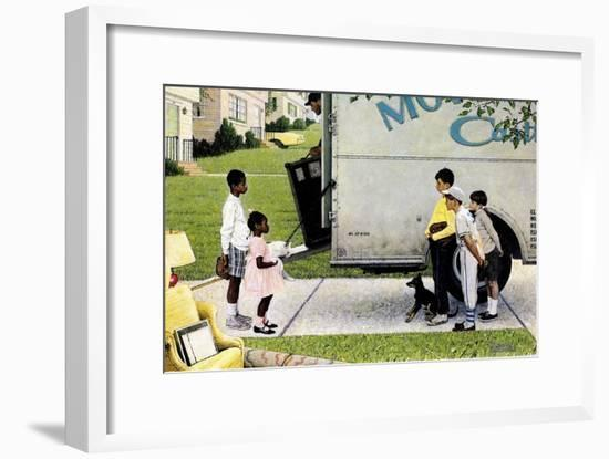 New Neighbors (or New Kids in the Neighborhood; Moving In)-Norman Rockwell-Framed Giclee Print