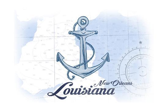 New Orleans, Louisiana - Anchor - Blue - Coastal Icon-Lantern Press-Art Print