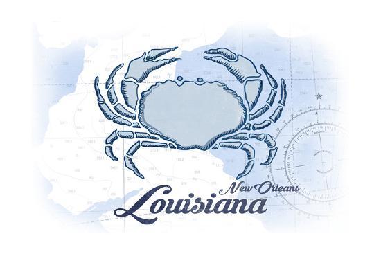 New Orleans, Louisiana - Crab - Blue - Coastal Icon-Lantern Press-Art Print