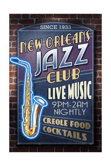 New Orleans, Louisiana - Jazz Club-Lantern Press-Art Print