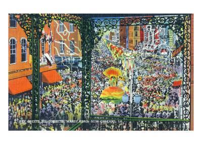 New Orleans, Louisiana - Mardi Gras Parade; Rex Greets Subjects-Lantern Press-Art Print
