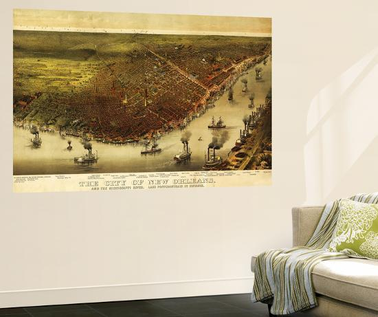 New Orleans, Louisiana - Panoramic Map-Lantern Press-Wall Mural