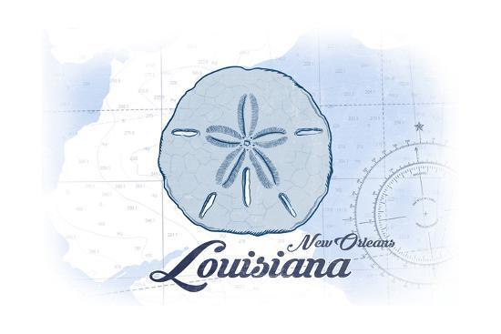 New Orleans, Louisiana - Sand Dollar - Blue - Coastal Icon-Lantern Press-Art Print