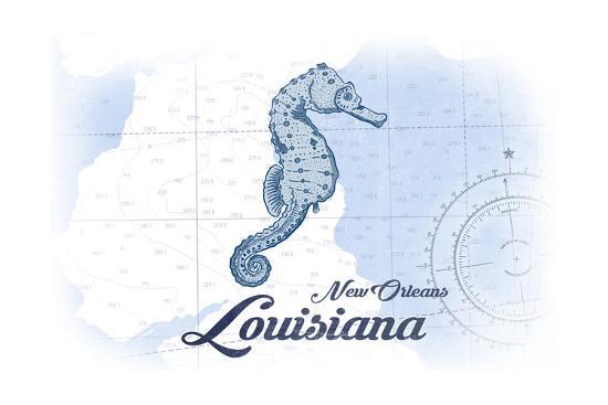 New Orleans, Louisiana - Seahorse - Blue - Coastal Icon-Lantern Press-Art Print