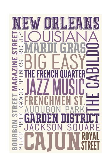 New Orleans, Louisiana - Typography-Lantern Press-Art Print