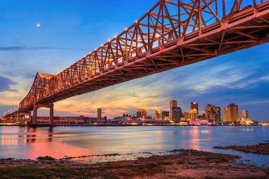 New Orleans, Louisiana, USA at Crescent City Connection Bridge over the Mississippi River.-Sean Pavone-Photographic Print