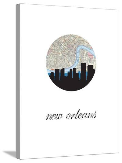 New Orleans Map Skyline-Paperfinch 0-Stretched Canvas Print