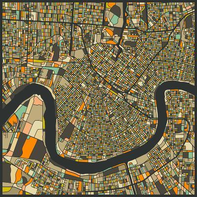 New Orleans Map-Jazzberry Blue-Art Print