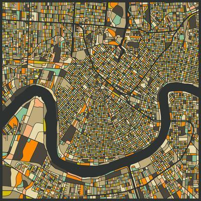New Orleans Map-Jazzberry Blue-Premium Giclee Print