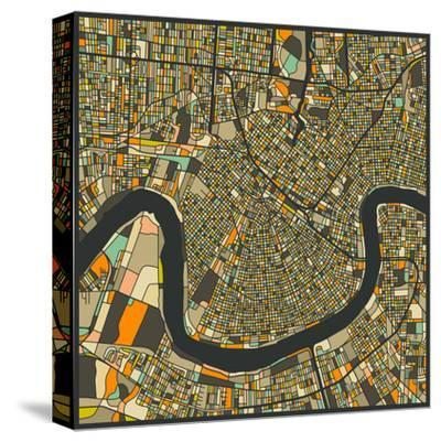 New Orleans Map-Jazzberry Blue-Stretched Canvas Print