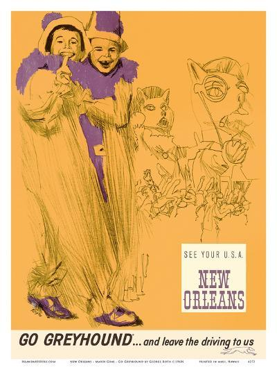 New Orleans - Mardi Gras - Greyhound Bus Lines-George Roth-Art Print