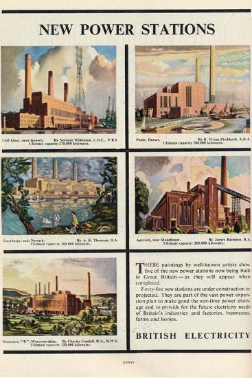 New Power Stations, Advert for British Electricity, 1951-Norman Wilkinson-Giclee Print