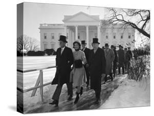 New Pres. John F. Kennedy and Wife Jacqueline Kennedy and Others Walking to His Inauguration