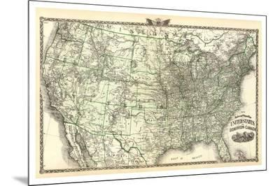 New Railroad Map of the United States and Dominion of Canada, c.1876-Warner & Beers-Mounted Print