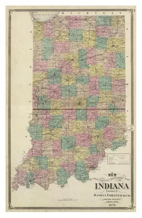 photograph about Printable Map of Indiana known as Clean Sectional and Township Map of Indiana, c.1876 Artwork Print through A. T. Andreas