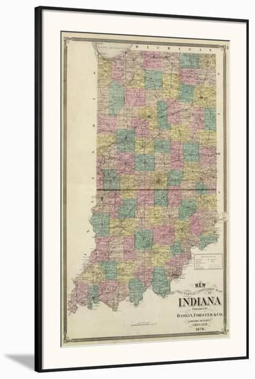 New Sectional and Township Map of Indiana, c.1876 Framed Art Print on
