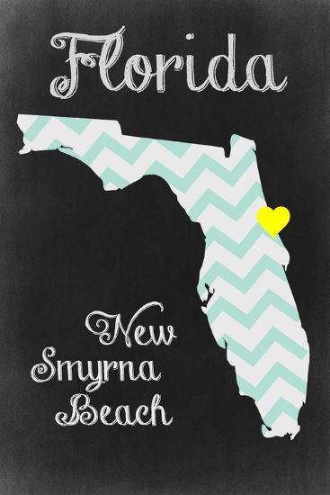 New Smyrna Beach, Florida - Chalkboard State Heart-Lantern Press-Art Print